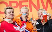 Podium - WEERTMAN Ferry NED gold medal, BURNELL Jack GBR silver medal, OLIVIER Marc Antoine FRA bronze medal<br /> Hoorn, Netherlands <br /> LEN 2016 European Open Water Swimming Championships <br /> Open Water Swimming<br /> Men's 10km<br /> Day 01 10-07-2016<br /> Photo Giorgio Perottino/Deepbluemedia/Insidefoto