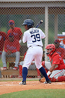 Detroit Tigers Jimmy Mojica (39) at bat during an Instructional League game against the Philadelphia Phillies on September 19, 2019 at Tigertown in Lakeland, Florida.  Catching is Freddy Francisco.  (Mike Janes/Four Seam Images)