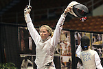 23 MAR 2012:  Evgeniya Kirpicheva celebrates her win over Luona Wang of Penn in the foil competition of the Division I Women's Fencing Championship held at St. John Arena on the Ohio State University campus in Columbus, OH. Kirpicheva defeated Wang 15-8 to claim the national title.  Jay LaPrete/ NCAA Photos