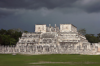 Temple of the Warriors, big building (outer temple), including the altar dedicated to the infinite harmony of the infinite cosmos, inside which there is a substructure (inner temple) known as the Chac Mool, Toltec architecture, 1100-1300 AD, Chichen Itza, Yucatan, Mexico. Picture by Manuel Cohen