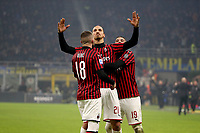 9th February 2020, Milan, Italy; Serie A football, AC Milan versus Inter-Milan; Zlatan Ibrahimvic AC Milan with Ante Rebic and Theo Hernandez as Zlatan scores for 0-2