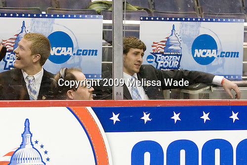 """Waiting in the penalty box - Colin Wilson (BU - 33), Matt Gilroy (BU - 97) - The Hobey Baker Award Ceremony was held Friday night, April 10, 2009, at the Verizon Center during the 2009 Frozen Four in Washington, DC.  The """"Hobey Hat Trick"""" was made up of Boston University's Matt Gilroy and Colin Wilson and Northeastern University's Brad Thiessen.  Matt Gilroy is the 2009 Hobey Baker Award winner."""