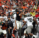 12/04/10-- Oregon Casey Matthews and Oregon State's Joe Halahuni jump for the ball before Ducks'  Michael Clay intercepts the ball in the firts half during the Civil War game at Reser Stadium in Corvallis, Or..Photo by Jaime Valdez......