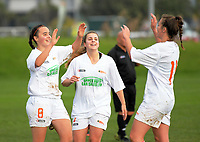 Action from the Women's Central League football match between Stop Out and Upper Hutt City at Hutt Park in Wellington, New Zealand on Saturday, 27 May 2017. Photo: Dave Lintott / lintottphoto.co.nz