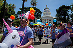 Hundreds of people gathered in Sacramento, California for the Sacramento Pride March from Southside Park, through the city, streets up to the State Capitol Mall on Sunday, June 9, 2019 in Sacramento, California.  Photo/Victoria Sheridan 2019