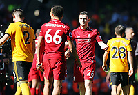 Liverpool's Trent Alexander-Arnold and Andrew Robertson console each other at the final whistle<br /> <br /> Photographer Rich Linley/CameraSport<br /> <br /> The Premier League - Liverpool v Wolverhampton Wanderers - Sunday 12th May 2019 - Anfield - Liverpool<br /> <br /> World Copyright © 2019 CameraSport. All rights reserved. 43 Linden Ave. Countesthorpe. Leicester. England. LE8 5PG - Tel: +44 (0) 116 277 4147 - admin@camerasport.com - www.camerasport.com
