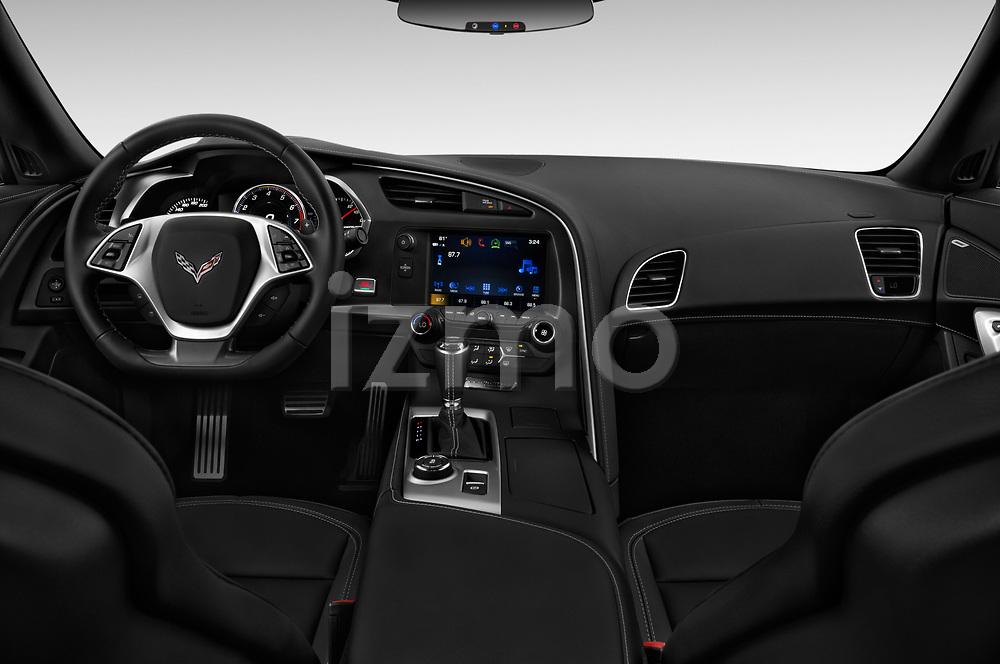 Stock photo of straight dashboard view of a 2018 Chevrolet Corvette Stingray 1LT 2 Door Coupe