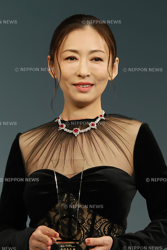 "August 29, 2018, Tokyo, Japan - Japanese actress Yasuko Matsuyuki attends the awarding ceremony for the ""Jeweller's choice women of the year"" at the Japan Jewellery Fair 2018 in Tokyo on Wednesday, August 29, 2018. Matsuyuki wore Italian high jeweller Picchiotti's necklace with total 27.51ct rubies and 41.02ct diamonds.            (Photo by Yoshio Tsunoda/AFLO) LWX -ytd-"