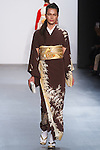 "Model walks runway in a ""Moonlight reflected by trees"" silk kimono from the Hiromi Asai Fall Winter 2016 ""Spirit of the Earth"" collection by Hiromi Asai & Kimono Artisan Kyoto, presented at NYFW: The Shows Fall 2016, during New York Fashion Week Fall 2016."