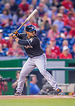 20 September 2013: Miami Marlins infielder Donovan Solano in action against the Washington Nationals at Nationals Park in Washington, DC. The Nationals defeated the Marlins 8-0 to take the second game of their 4-game series. Mandatory Credit: Ed Wolfstein Photo *** RAW (NEF) Image File Available ***