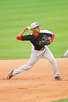 Hickory Crawdads shortstop Luis Marte (3) makes a throw to first base against the Kannapolis Intimidators at CMC-Northeast Stadium on April 14, 2013 in Kannapolis, North Carolina.  The Intimidators defeated the Crawdads 6-0.  (Brian Westerholt/Four Seam Images)