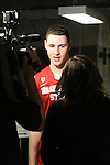 Klay Thompson, Washington State junior guard, is interviewed by Jen Mueller of FSN after the Cougars 80-69 road victory over arch-rival Washington at the Alaska Airlines Arena in Seattle, Washington, on February 27, 2011.  With the victory, Thompson and the Cougars swept the regular season series from the Huskies, two games to none.