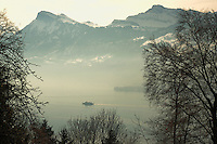 Lake and mountains Stätter See Beckenried Luzern area, Switzerland.