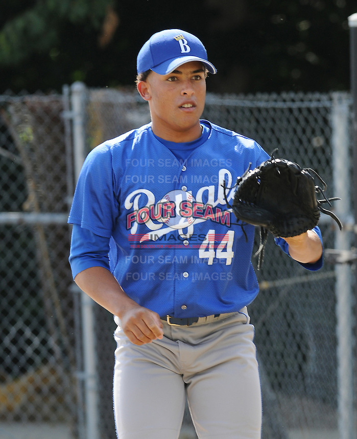 June 18, 2008: RHP Kelvin Herrera of the Burlington Royals, rookie Appalachian League affiliate of the Kansas City Royals, prior to a game against the Danville Braves at Dan Daniel Memorial Park in Danville, Va. Photo by:  Tom Priddy/Four Seam Images