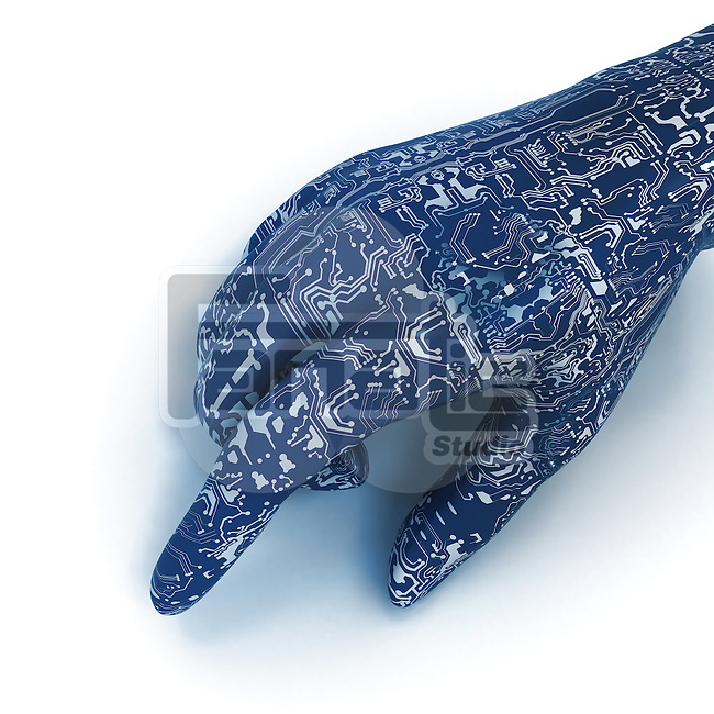 Close-up of blue circuit board robotic hand over white background