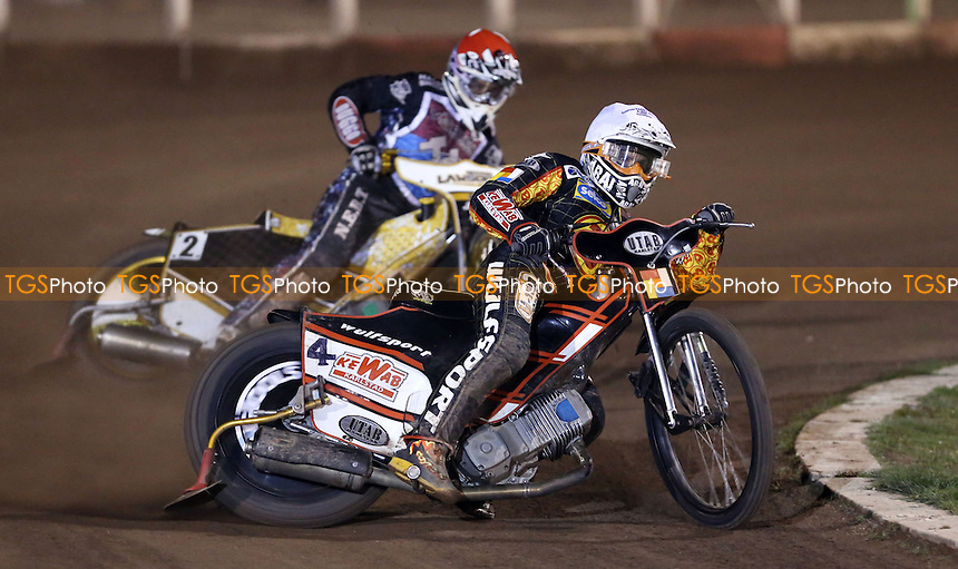 Heat 7: Daniel Nermark (white) and Richard Lawson (red) - Lakeside Hammers vs Birmingham Brummies, Elite League Speedway at the Arena Essex Raceway, Pufleet - 11/04/14 - MANDATORY CREDIT: Rob Newell/TGSPHOTO - Self billing applies where appropriate - 0845 094 6026 - contact@tgsphoto.co.uk - NO UNPAID USE