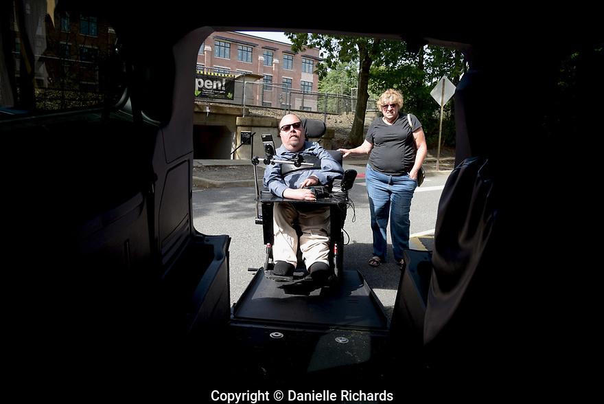 Daniel Florio, who is a quadriplegic as a result of spinal muscular atrophy, maneuvers his chair into his van with his mom, Judy.  He worries about the future once his parents are no longer able to help with his care.  He requires 24-hour care, which is only partially covered by Medicaid.  His parents cover the other hours.