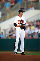 Minnesota Twins starting pitcher Kyle Gibson (44) gets ready to deliver a pitch during a Spring Training game against the Boston Red Sox on March 16, 2016 at Hammond Stadium in Fort Myers, Florida.  Minnesota defeated Boston 9-4.  (Mike Janes/Four Seam Images)