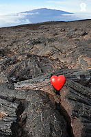 Heart shape on Mauna Kea volcano slopes, Mauna Loa in the background, Big Island, Usa (Licence this image exclusively with Getty: http://www.gettyimages.com/detail/85985784 )