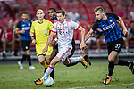 Bayern Munich Forward Robert Lewandowski (C) fights for the ball with FC Internazionale Midfielder Geoffrey Kondogbia (L) and FC Internazionale Defender Milan Skriniar (R) during the International Champions Cup match between FC Bayern and FC Internazionale at National Stadium on July 27, 2017 in Singapore. Photo by Marcio Rodrigo Machado / Power Sport Images