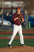 Iona Gaels relief pitcher Jason Antalek (32) checks the runner at first base during the game against the Rutgers Scarlet Knights at City Park on March 8, 2017 in New Rochelle, New York.  The Scarlet Knights defeated the Gaels 12-3.  (Brian Westerholt/Four Seam Images)