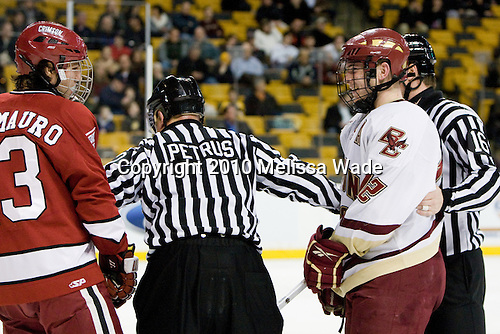 Michael Del Mauro (Harvard - 13), Ben Smith (BC - 12) - The Boston College Eagles defeated the Harvard University Crimson 6-0 on Monday, February 1, 2010, in the first round of the 2010 Beanpot at the TD Garden in Boston, Massachusetts.