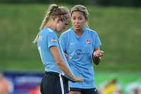 Piscataway, NJ - Saturday July 23, 2016: Nikki Stanton, Shawna Gordon during a regular season National Women's Soccer League (NWSL) match between Sky Blue FC and the Washington Spirit at Yurcak Field.