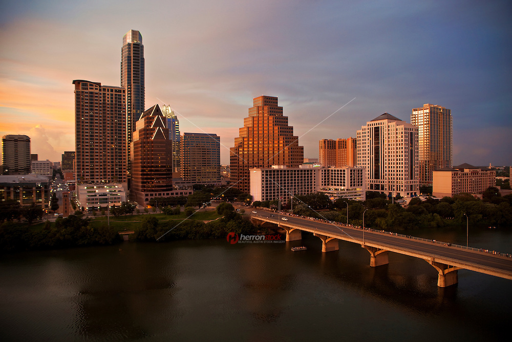 Austin Skyline at Dusk as Bat Watchers gather on the Congress Avenue Bridge
