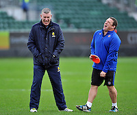 Worcester Warriors Director of Rugby Dean Ryan has a laugh with Bath Rugby first team coach Toby Booth during the pre-match warm-up. Aviva Premiership match, between Bath Rugby and Worcester Warriors on December 27, 2015 at the Recreation Ground in Bath, England. Photo by: Patrick Khachfe / Onside Images