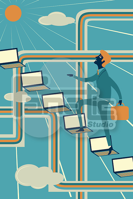 Illustrative image of businessman climbing laptops representing ladder of success