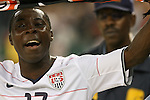 11 October 2008: Freddy Adu (USA) celebrates with the fans after the game. The United States Men's National Team defeated Cuba Men's National Team 6-1 at RFK Stadium in Washington, DC in a CONCACAF semifinal round FIFA 2010 South Africa World Cup Qualifier.