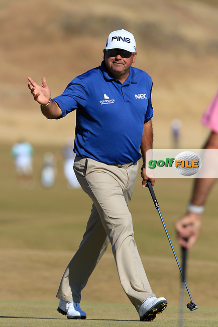 Angel Cabrera (ARG) sinks his putt on the 5th green during Friday's Round 2 of the 2015 U.S. Open 115th National Championship held at Chambers Bay, Seattle, Washington, USA. 6/20/2015.<br /> Picture: Golffile | Eoin Clarke<br /> <br /> <br /> <br /> <br /> All photo usage must carry mandatory copyright credit (&copy; Golffile | Eoin Clarke)