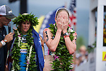 KONA-KAILUA, HI - OCTOBER 11:  Daniela Ryf of Switzerland at the finish line after placing 2nd at the 2014 IRONMAN Triathlon World Championships presented by GoPro on October 11, 2014 in Kailua-Kona, Hawaii. (Photo by Donald Miralle) *** Local Caption ***
