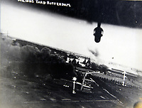 BNPS.co.uk (01202 558833)<br /> Pic:  Tooveys/BNPS<br /> <br /> Taken on 28/08/41 - A daylight attack on shipping and docks at Rotterdam.  (1) shows the engine shop and assembly hall on fire.  (2) shows the warehouse fire which was reported to have started from a crashed aircraft.<br /> <br /> Dramatic photos showing a series of heart-pounding World War Two bombing raids from the pilot's perspective have come to light.<br /> <br /> They were taken from Blenheim bombers undertaking attacks on targets in Germany and Nazi-occupied Netherlands in 1941.<br /> <br /> Several capture the immediate aftermath of a direct hit, with flames and clouds of smoke signifying they had achieved their aim.<br /> <br /> The album, which contains almost 100 photos, has emerged for sale with Toovey's Auctions, of Washington, west Sussex.