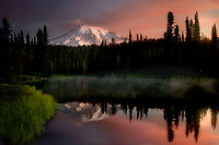 Reflection Lake at sunrise with fog.Mt. Rainier National Park, Washington