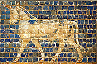 Aurochs relief pictures on glazed bricks from the Ishtar Gate, Babylon, Iraq constructed in about 575 BC by order of King Nebuchadnezzar II on the north side of the city. Dedicated to the Babylonian goddess Ishtar, the monumental gate joined the inner & outer walls of Babylon it was one of the Seven Wonders of the ancient world. Istanbul Archaeological Museum.