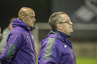 Monday  19 December 2014<br /> Pictured: ( L-R ) Swansea Manager U23 Managers Gary Richards and Cameron Todhack <br /> Re: Swansea City U23 v Middlesbrough u23 at the Landore Training Facility, Swansea, Wales, UK