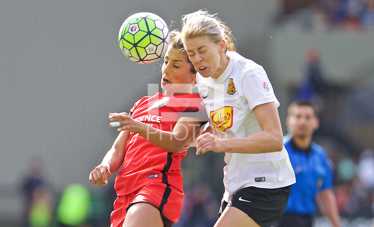 Portland, Oregon - Sunday October 2, 2016: Portland Thorns FC forward Nadia Nadim (9) and Western New York Flash defender Alanna Kennedy (8) fight for the ball during a semi final match of the National Women's Soccer League (NWSL) at Providence Park.