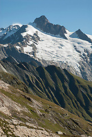 View east from Col des Fours with the<br /> Aiguille du Glaciers and Mt. Blanc, September 2007.