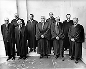 "The 9 Justices of the United States Supreme Court posed for their official ""family "" group photo at the U.S. Supreme Court in Washington, D.C. on Friday, October 9, 1970. Front row, left to right: Associate Justice John Marshall Harlan; Associate Justice Hugo L. Black; Chief Justice of the United States Warren E. Burger; Associate Justice William O. Douglas; and Associate Justice William J. Brennan, Jr.  Back row, left to right: Associate Justice Thurgood Marshall; Associate Potter Stewart; Associate Justice Byron R. White; and Associate Justice Harry A. Blackmun..Credit: Benjamin E. ""Gene"" Forte / CNP"