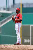 GCL Red Sox relief pitcher Juan Morillo (38) looks in for the sign during a game against the GCL Rays on August 1, 2018 at JetBlue Park in Fort Myers, Florida.  GCL Red Sox defeated GCL Rays 5-1 in a rain shortened game.  (Mike Janes/Four Seam Images)