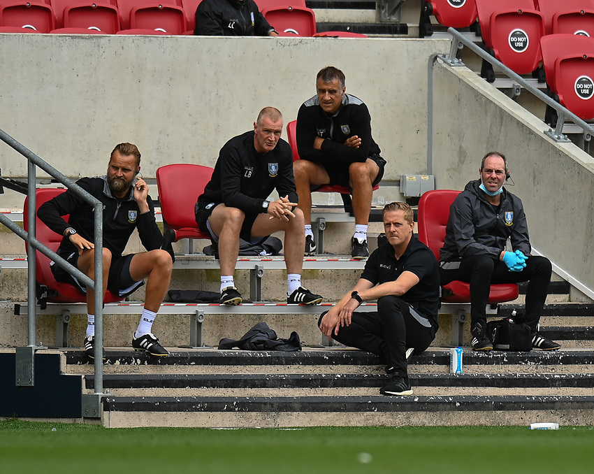 Sheffield Wednesday's manager Garry Monk and his team watch the match<br /> <br /> Photographer David Horton/CameraSport<br /> <br /> The EFL Sky Bet Championship - Bristol City v Sheffield Wednesday - Sunday 28th June 2020 - Ashton Gate Stadium - Bristol <br /> <br /> World Copyright © 2020 CameraSport. All rights reserved. 43 Linden Ave. Countesthorpe. Leicester. England. LE8 5PG - Tel: +44 (0) 116 277 4147 - admin@camerasport.com - www.camerasport.com