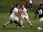 Tiara Pittman (#19 - in white) and Caitlin Bonney (#18), play tough defense during the Washington State Cougars soccer match with the Gonzaga Bulldogs in Pullman, Washington, on September 26, 2008.  A Mallory Fox goal in the first half held up as the Cougars shut out the Bulldogs, 1-0.