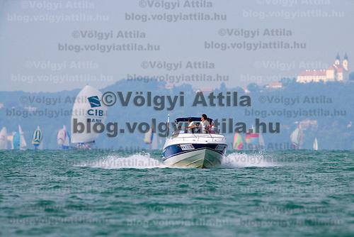 Motor boat during the 41st Blue Ribbon Regattta race along the 160 km course around Lake Balaton near Balatonfured, 150 km (93 miles) west of Budapest. Hungary. Friday, 03. July 2009. ATTILA VOLGYI