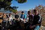 Greek students from left: Ersi Kyrochristou,17, Agathi Sideri,17, Dinos Athanasiou,18, Andreas Nasios,18, Christos Dimitriadis,18, and Konstantinos Vartziotis,18, relax from their lessons near by the Ioannina lake.