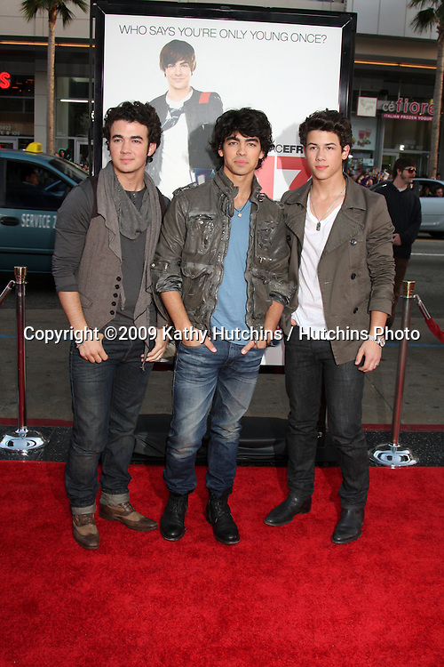 Jonas Brothers    arriving at the 17 Again Premiere at Grauman's Chinese Theater in Los Angeles, CA on April 14, 2009.©2009 Kathy Hutchins / Hutchins Photo....                .