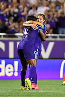 Orlando, FL - Thursday June 23, 2016: Jamia Fields, Samantha Witteman during a regular season National Women's Soccer League (NWSL) match between the Orlando Pride and the Houston Dash at Camping World Stadium.