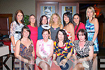 Angela Lawlor,Lixnaw,seated 2nd from the Lt,held her hen nite in Tralee last Saturday starting in the AbbeyInn,also seated were,L-R Tanya Courtney,angela Lawlor,Jessica O'Mahony and Ann Carroll.Back,L-R Kay O'Sullivan,Carol McHugh,Marie Conway,Rebecca Coffey,Yvonne Kerins,Melanie Duggan and Carmel Barry..