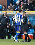"""Ref Stevie O""""Reilly shows red to Manuel Pascali.."""