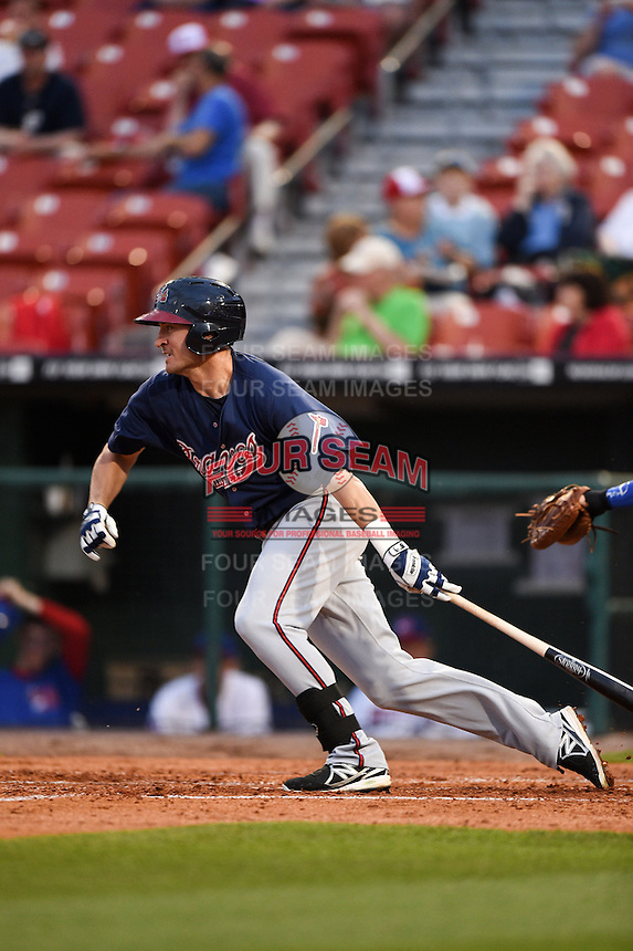 Gwinnett Braves outfielder Derrick Mitchell (15) at bat during a game against the Buffalo Bisons on May 13, 2014 at Coca-Cola Field in Buffalo, New  York.  Gwinnett defeated Buffalo 3-2.  (Mike Janes/Four Seam Images)